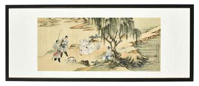XU CAO FRAMED INK AND COLOR ON SILK PAINTING HUNTING
