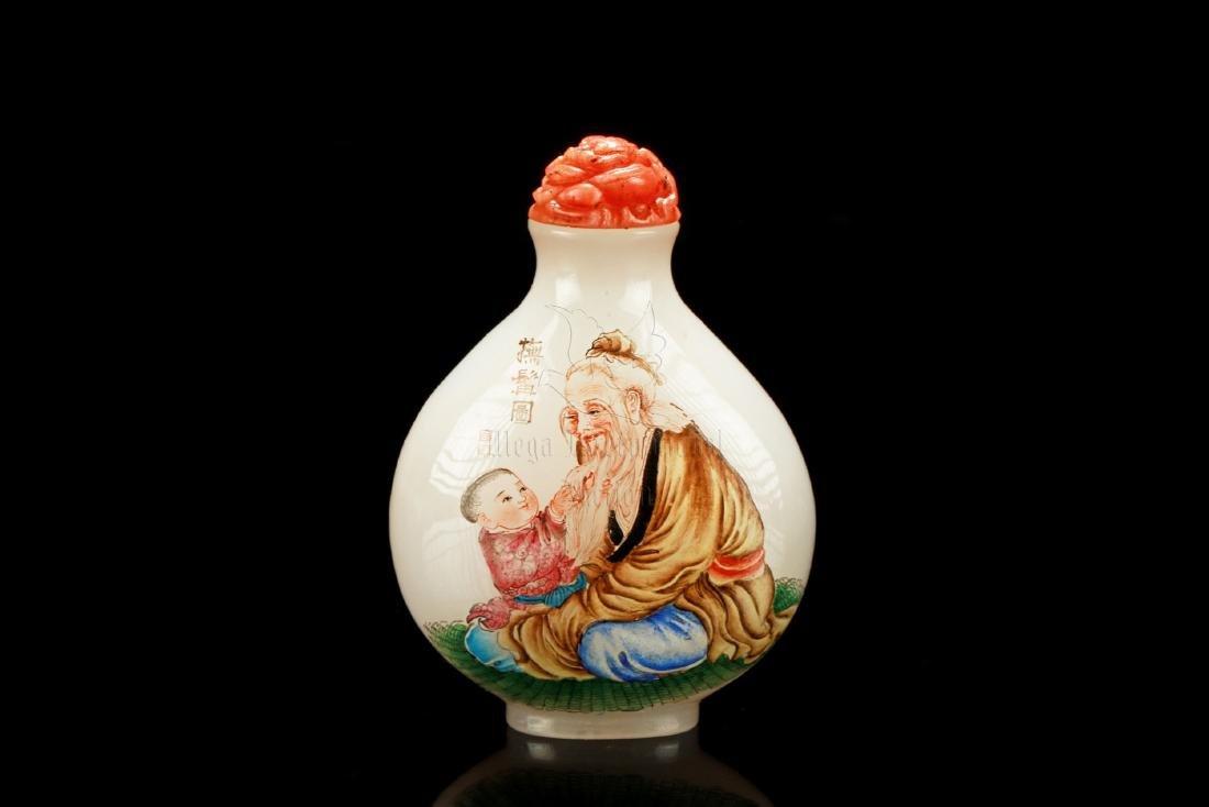 FAMILLE ROSE GLASS 'ELDERS' SNUFF BOTTLE