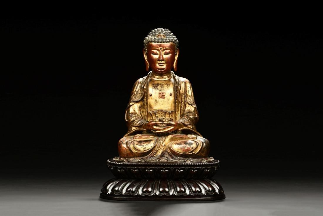 GILT BRONZE SEATED SHAKYAMUNI BUDDHA