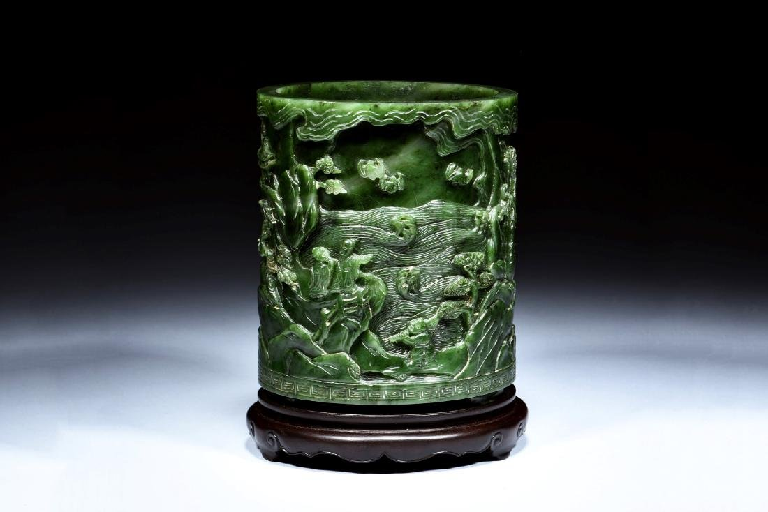 NEPHRITE JADE CARVED BRUSH POT WITH STAND