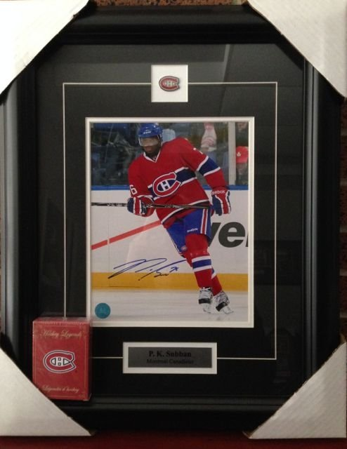 Montreal - PK Subban 8 x 10 signed with a  gallery