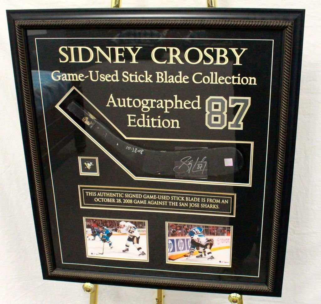 Sidney Crosby Hand Signed Framed Game Used  Stick Blade