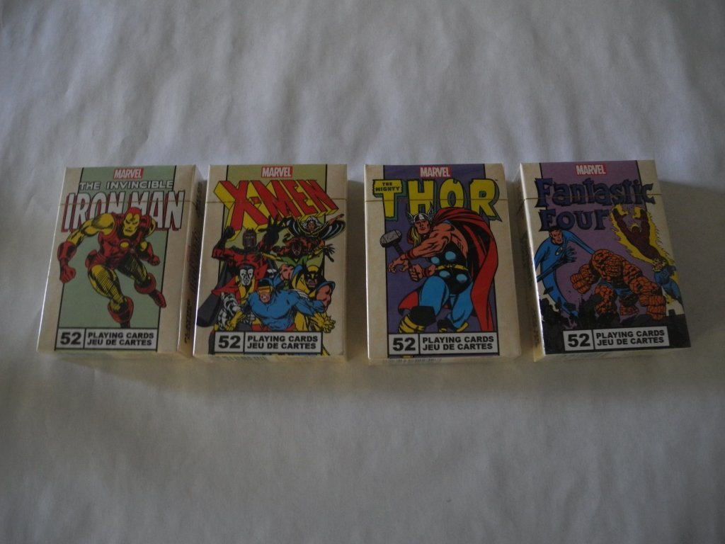 Set of 4 Marvel- Official Deck of Playing  Cards.