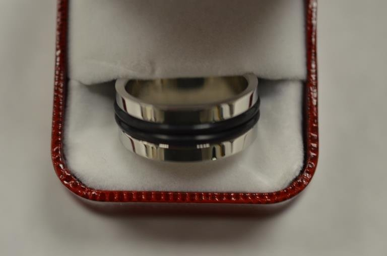 Gents Heavy Stainless Steel Band Ring with  Nylon