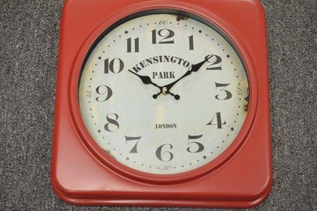 Red Kensington Park Metal Wall Clock  Measures - 14 x