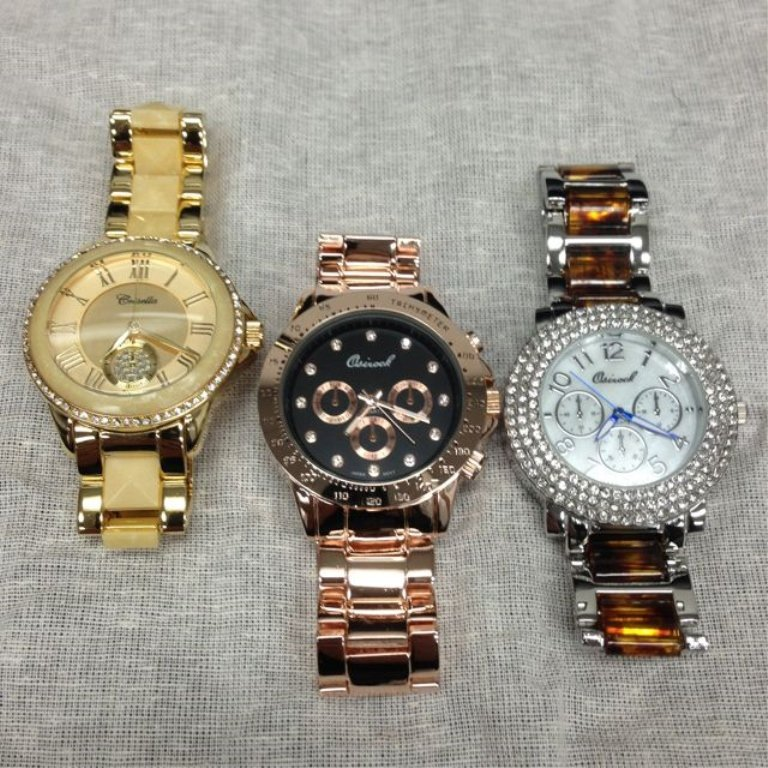 Lot of 3 Unisex Watches - Brand New Set with Crystal