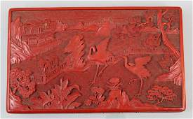 Late Qing Dynasty Chinese Carved Cinnabar Box