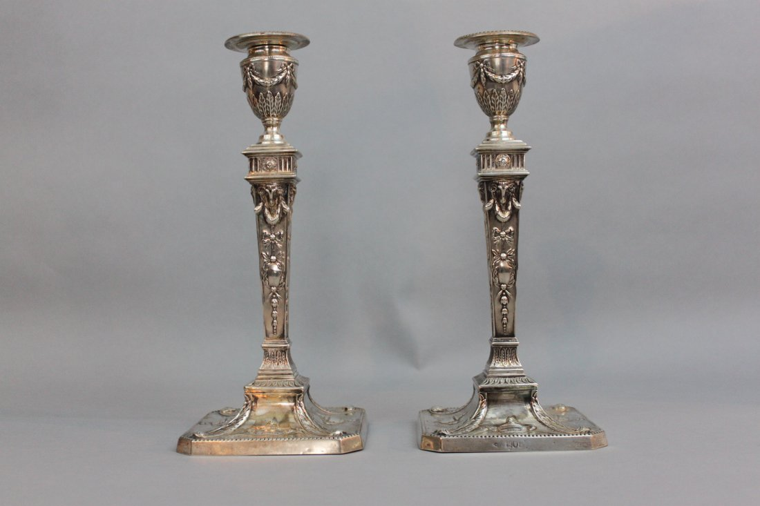Edwardian Neoclassical Sterling Silver Candlesticks