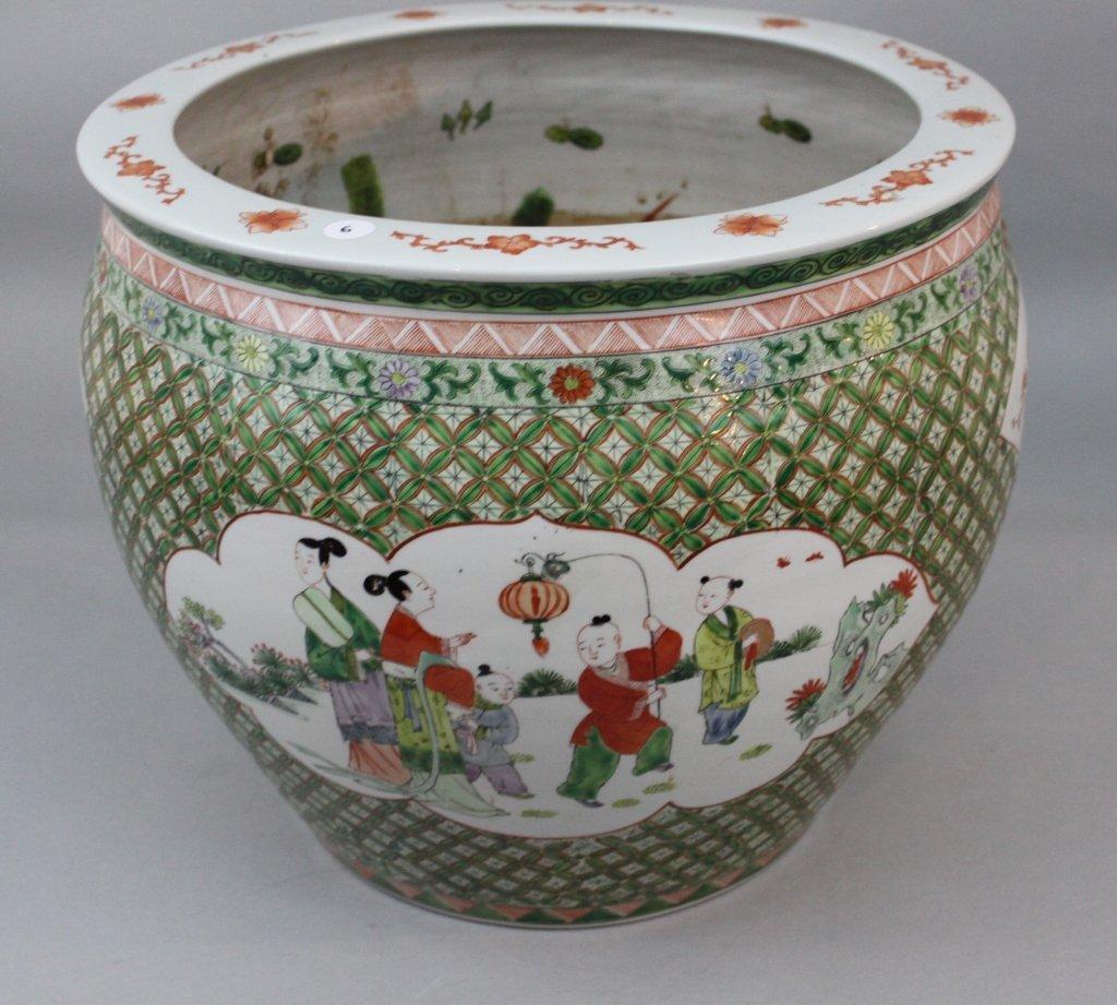 Qing/Republic Chinese Famille Verte Porcelain Fish Bowl