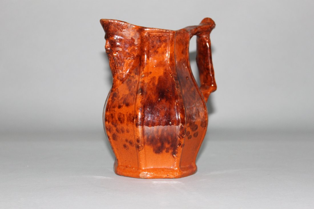 American Redware Pitcher with Figural Spout