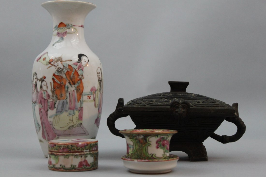 Group of Various Chinese Porcelain/Metal Items