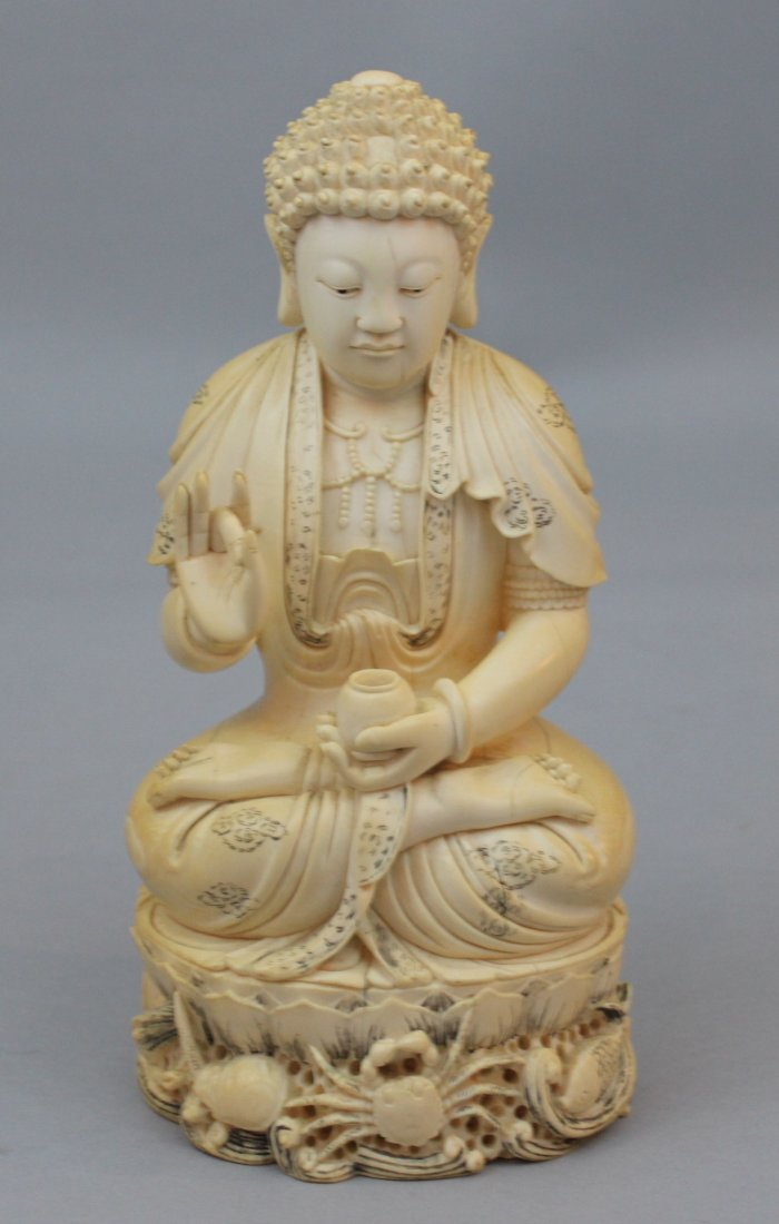 * Qing Dynasty Chinese Carved Ivory Figure of Buddha