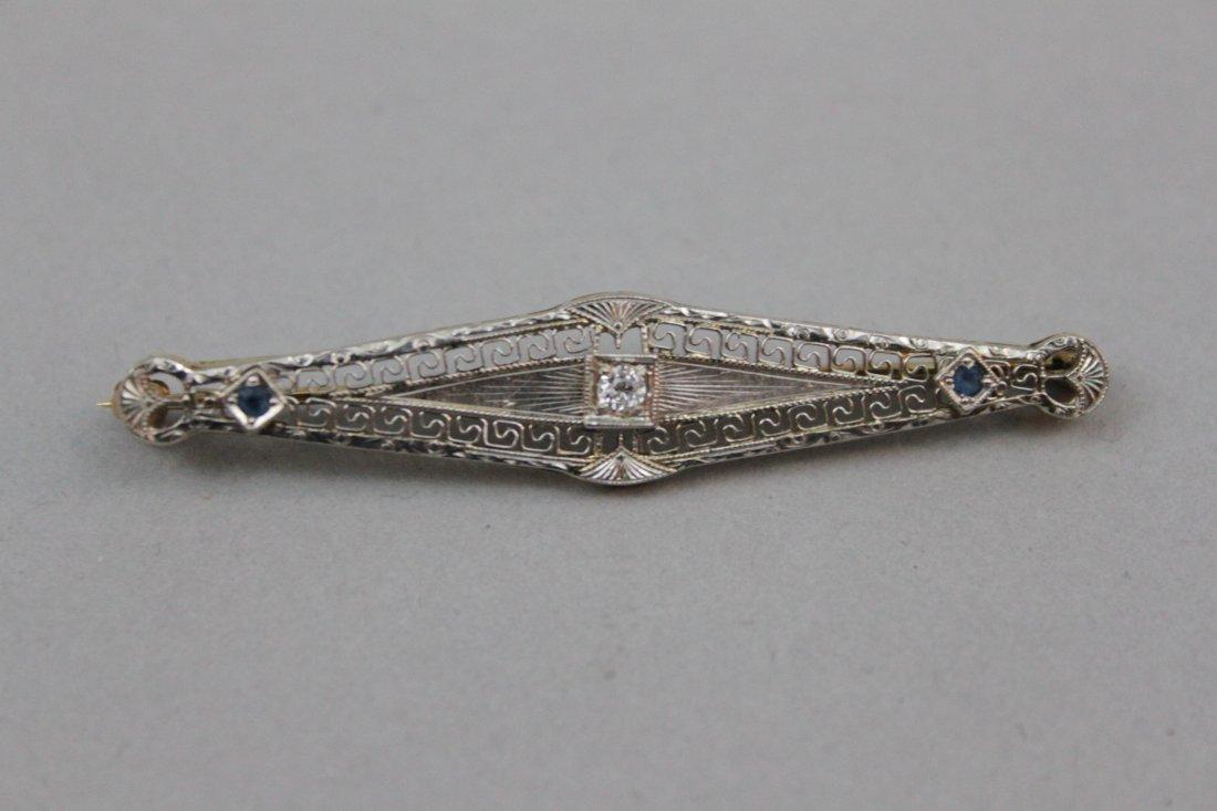 J.E. Caldwell Art Deco 14 Karat YG/WG & Diamond Pin