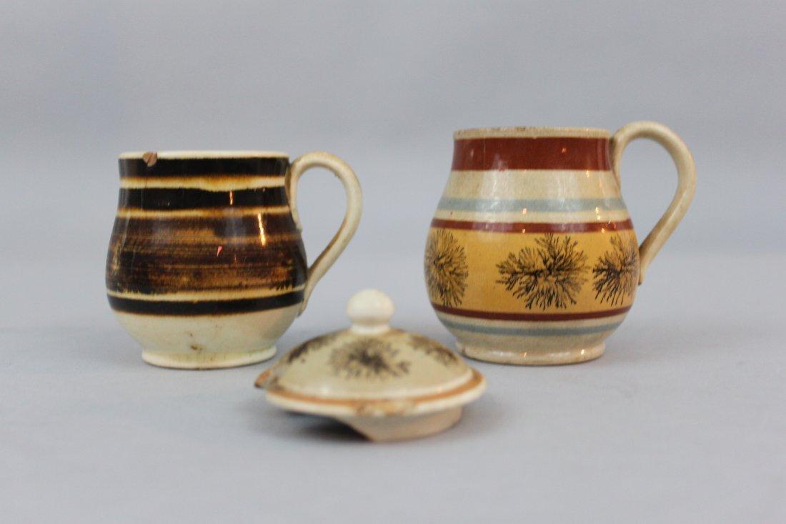 Two English Mochaware Mustard Jars