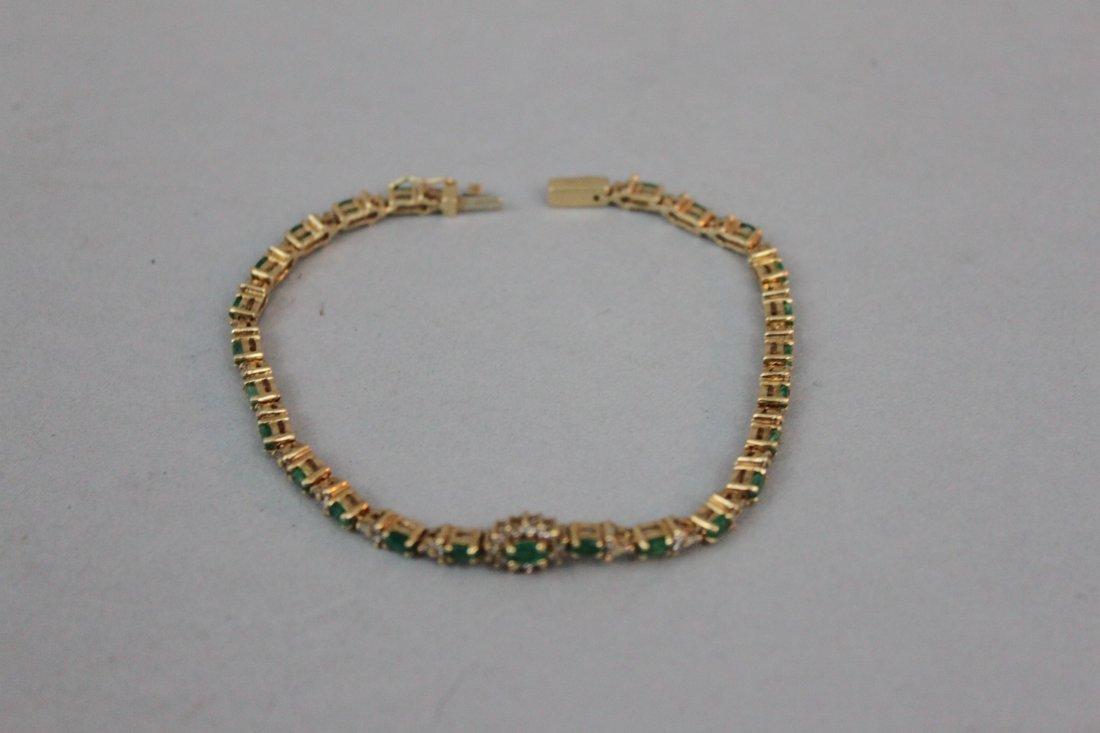 14 Karat Yellow Gold Emerald & Diamond Bracelet