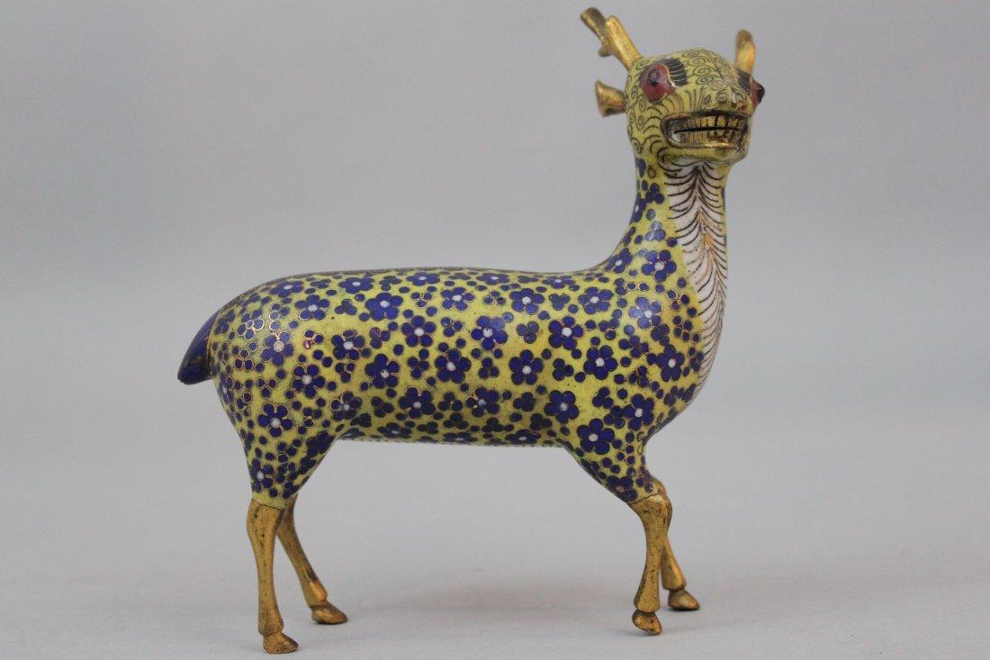 Qing Dynasty Chinese Cloisonne Enamel Model of a Deer