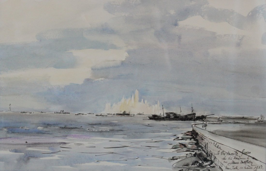 James McBey 1931 Watercolor Landscape New York Harbor