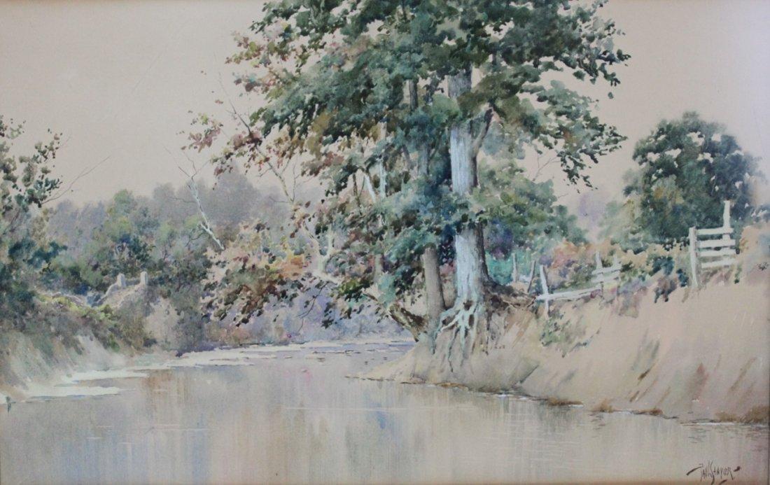 Paul Sawyier Watercolor Kentucky Creek Scene circa 1910