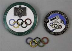 Estate Lot of Two Nazi German 1936 Olympics Badges