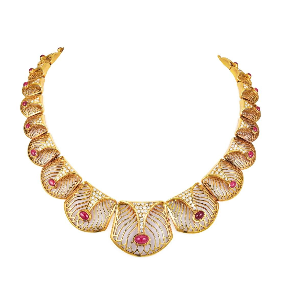 Ilias Lalaounis Ruby and Diamond Necklace