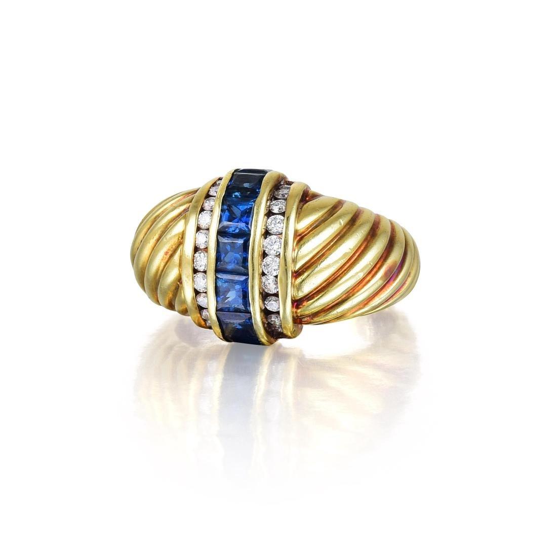 David Yurman Diamond and Sapphire Ring