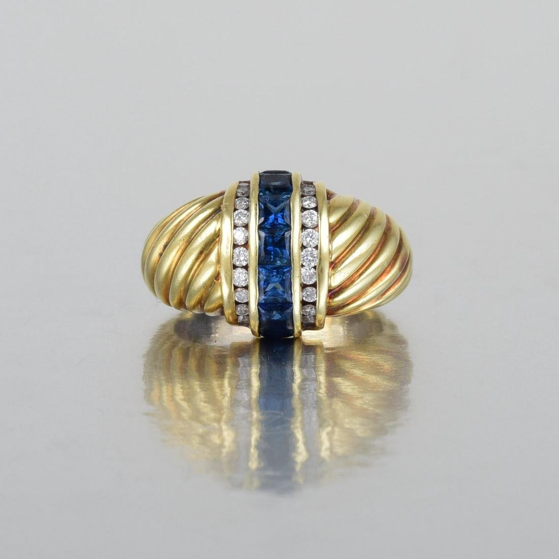 David Yurman Diamond and Sapphire Ring - 2