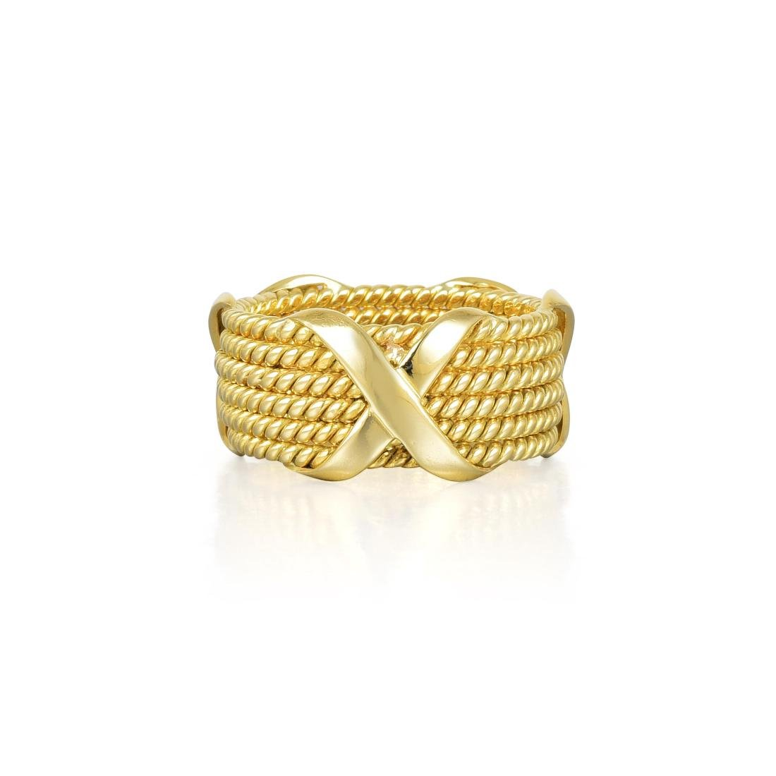 """Tiffany & Co. by Schlumberger Large Gold """"Rope"""" Ring"""