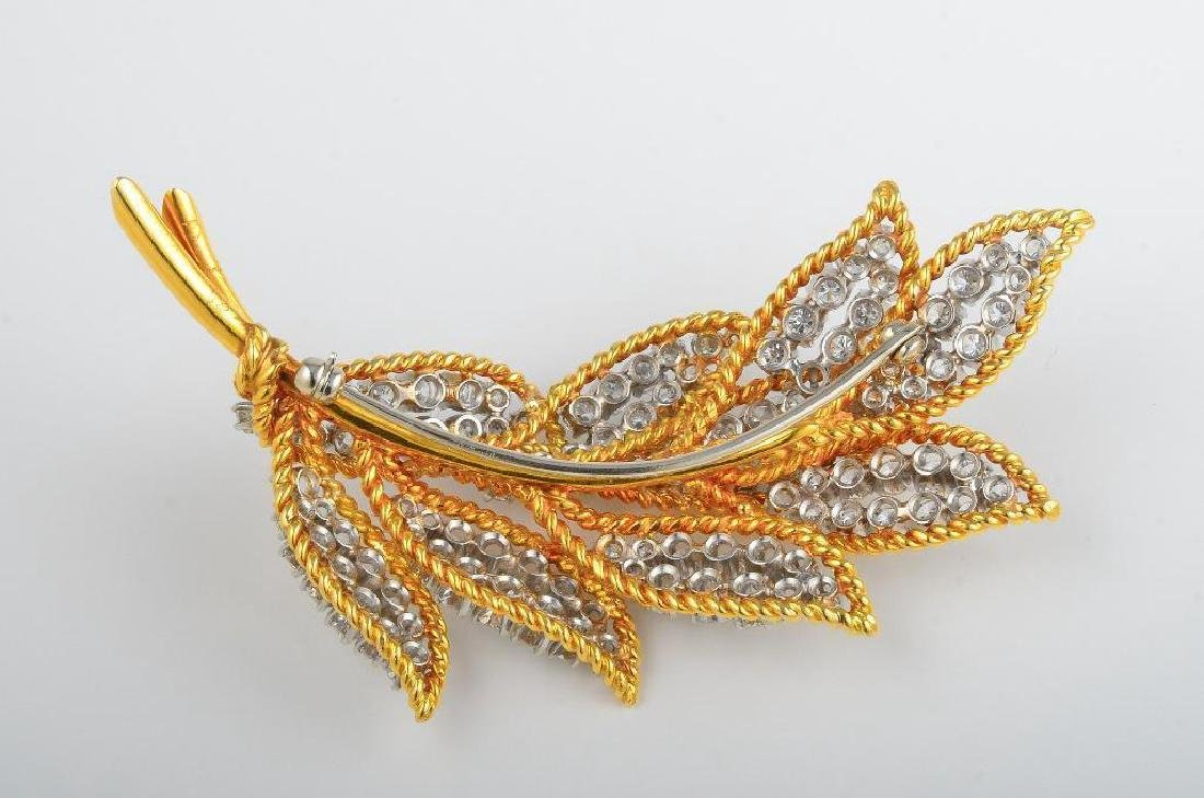 A Platinum, Gold, and Diamond Leaf Brooch - 2