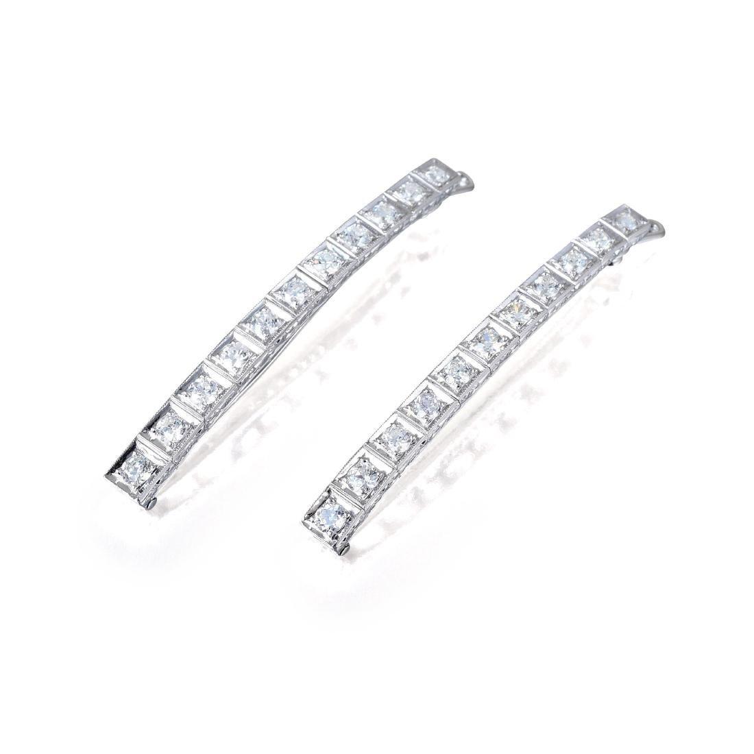 A Pair of Art Deco Diamond Hair Clips