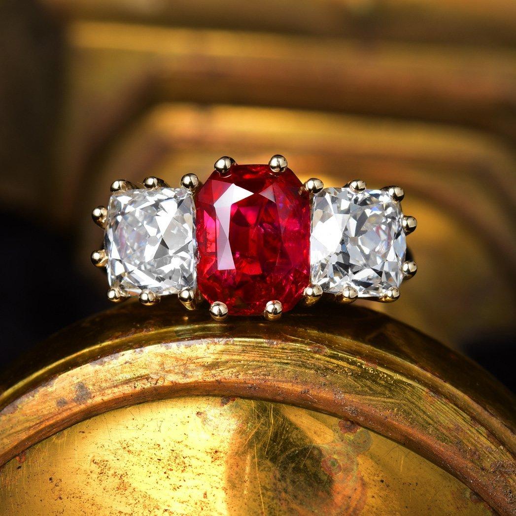 A 2.34-Carat Unheated Burmese Ruby and Diamond Ring
