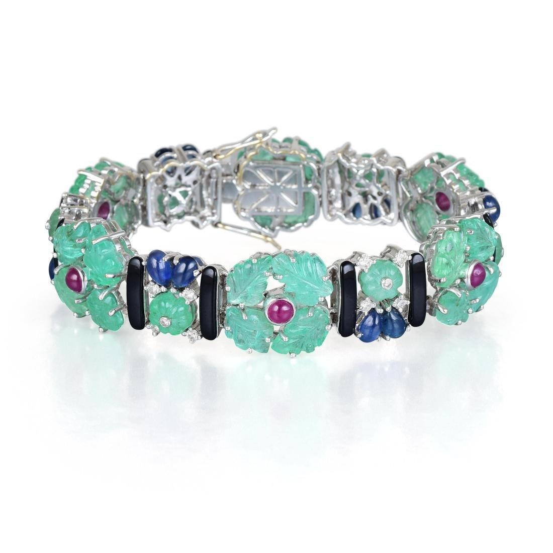 A Tutti-Frutti Multi-Gem and Diamond Bracelet