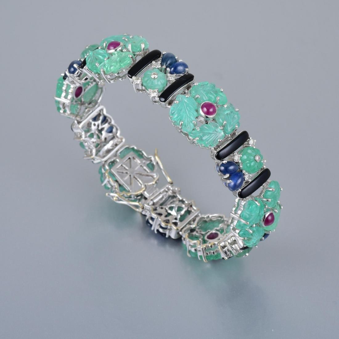 A Tutti-Frutti Multi-Gem and Diamond Bracelet - 3