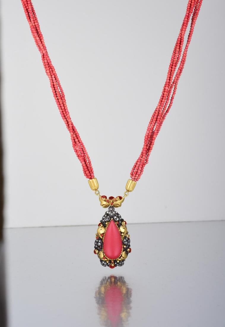 A Gold and Coral Pendant Necklace - 2