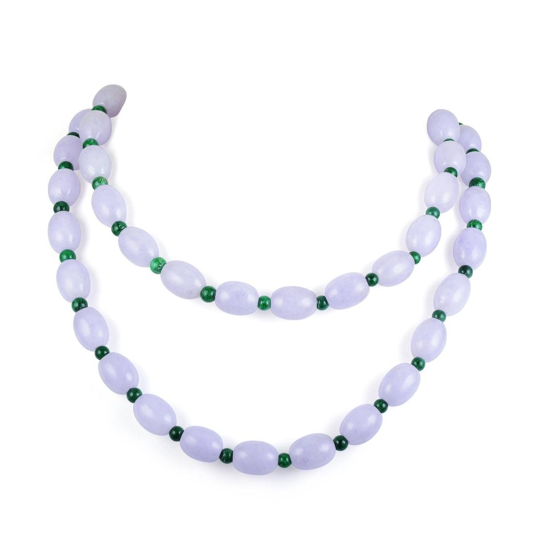 A Lavender and Green Jade Necklace