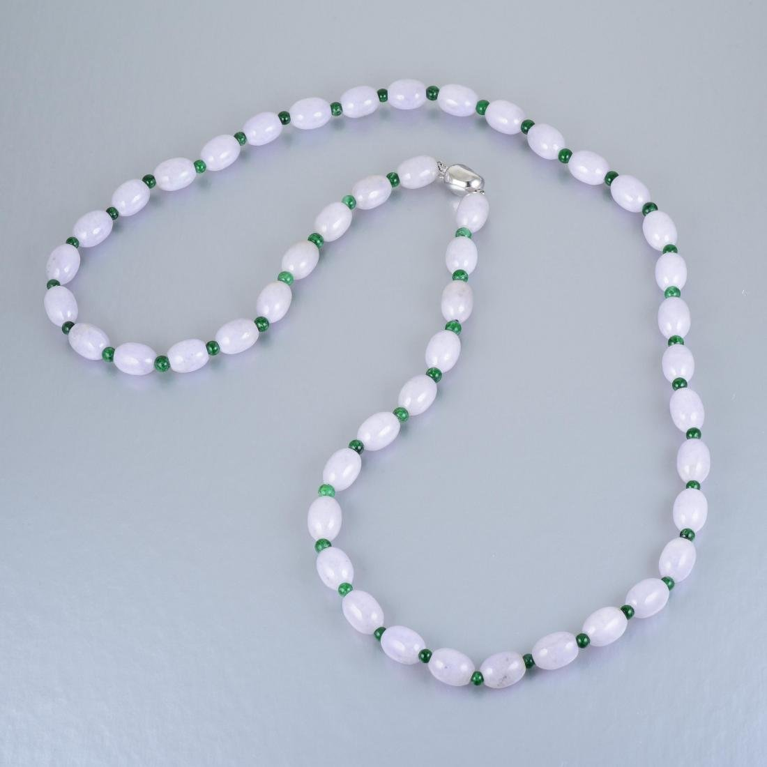 A Lavender and Green Jade Necklace - 2