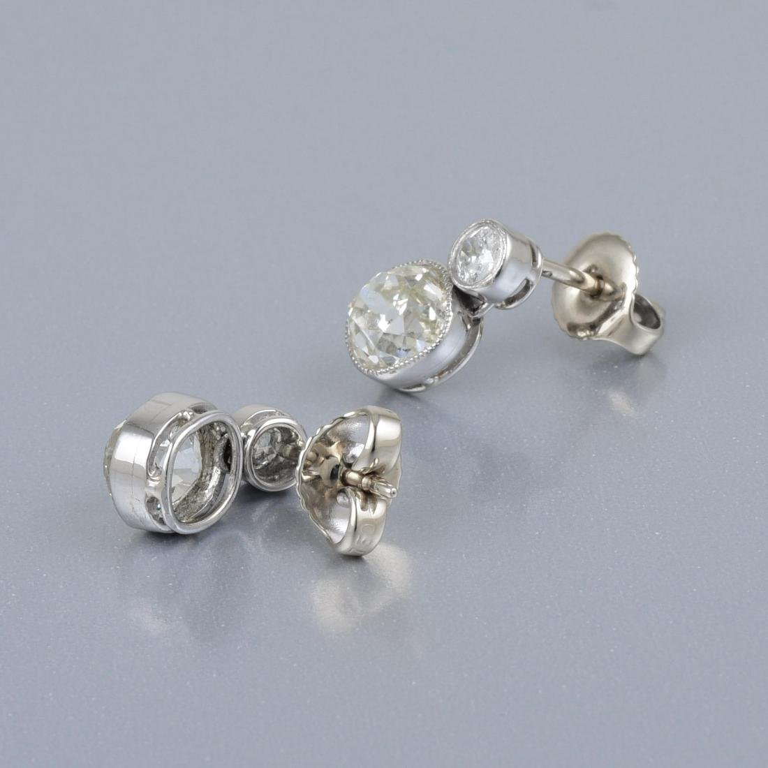 A Pair of Antique Diamond Earrings - 2