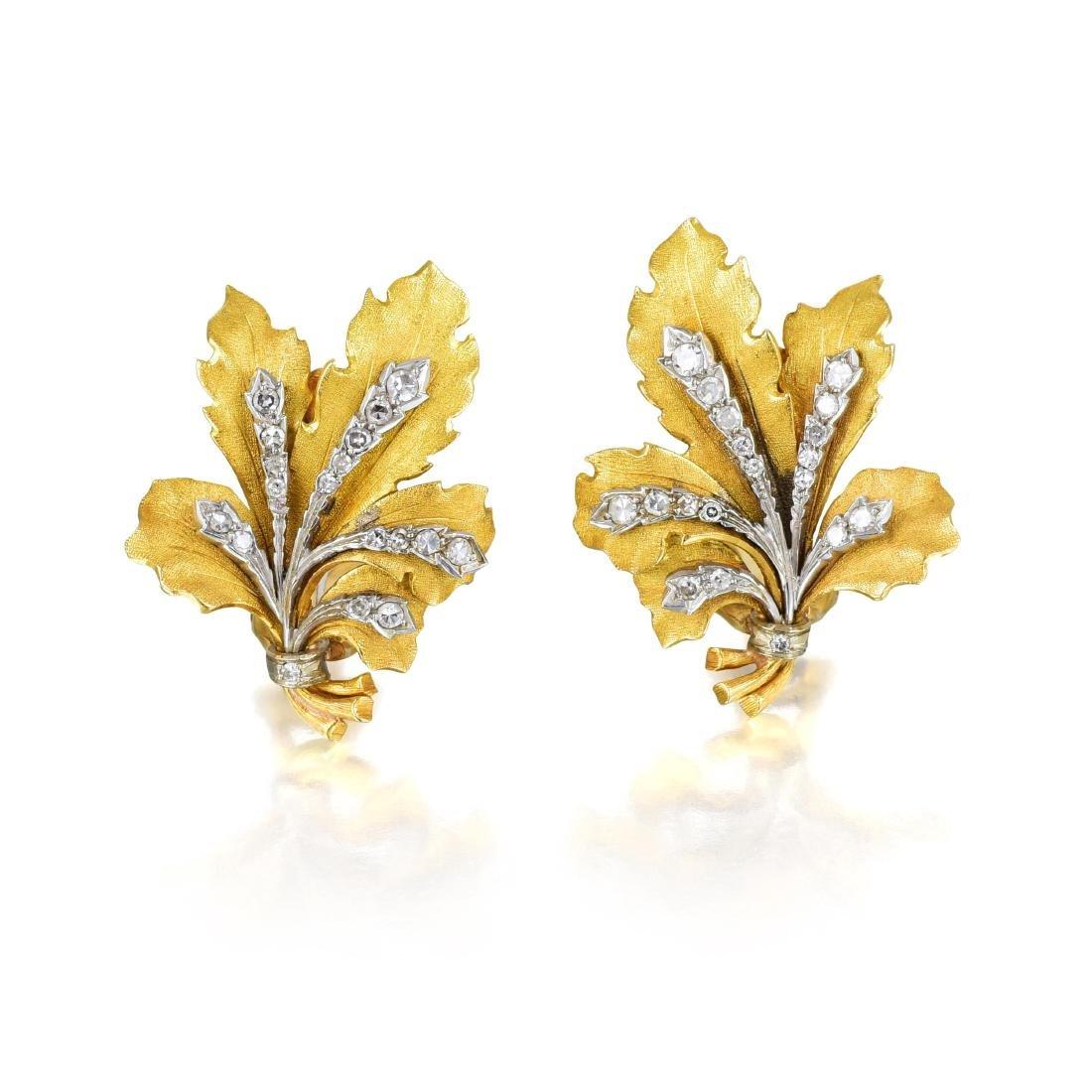Buccellati Diamond and Gold Leaf Earrings
