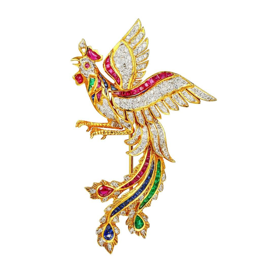 A Diamond and Multi-Gem Rooster Brooch