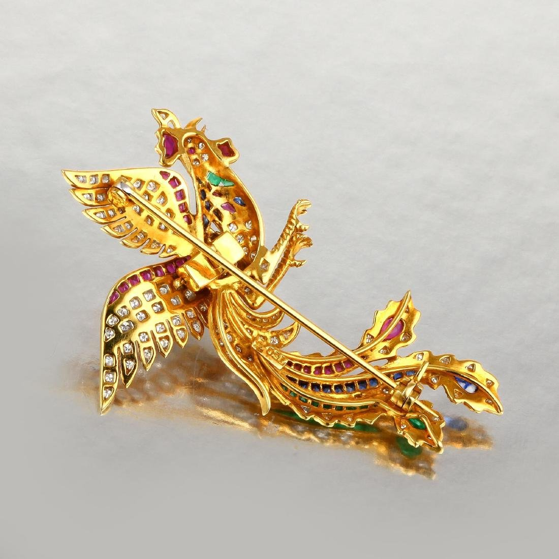 A Diamond and Multi-Gem Rooster Brooch - 2