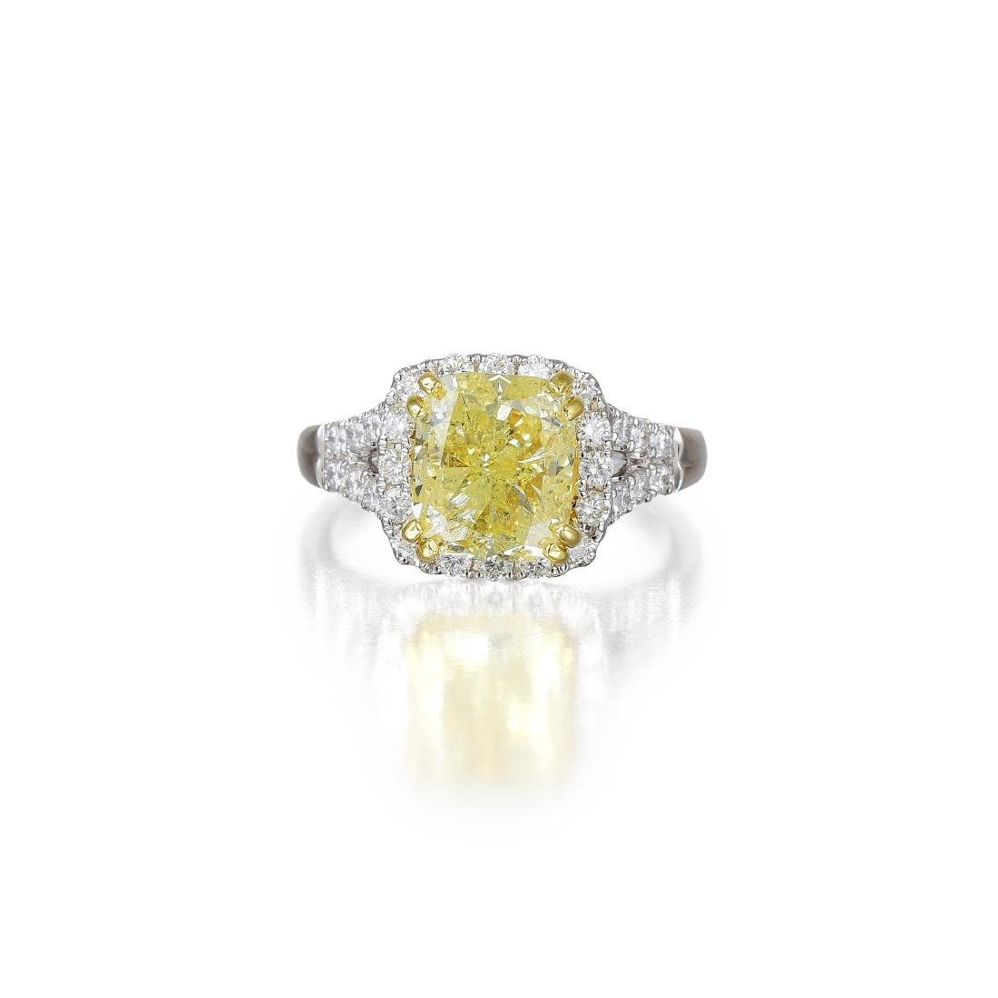 A 3.80-Carat Yellow Diamond Ring