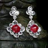 A Pair of Burmese Sugarloaf Cabochon Ruby and Diamond