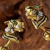 Tiffany & Co. Diamond, Emerald Enamel Tiger Cufflinks