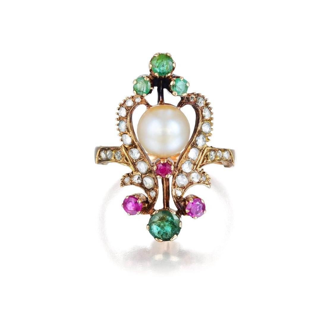 An Antique Natural Pearl Diamond Ruby and Emerald Ring