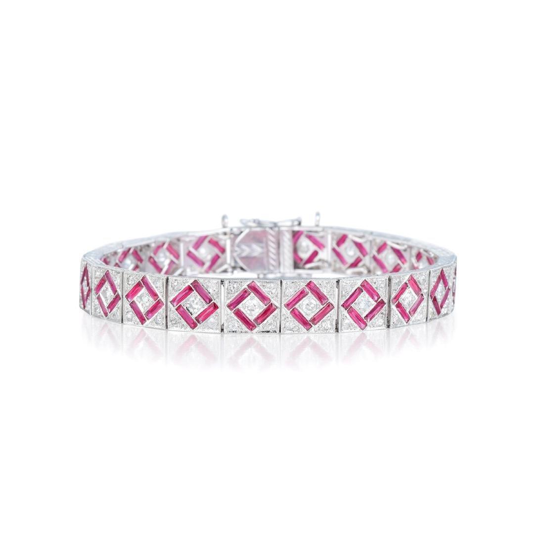 An Art Deco Style Ruby and Diamond Bracelet