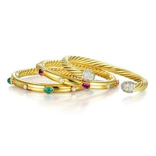 David Yurman Lot of Three Diamond Gemstone Bracelets