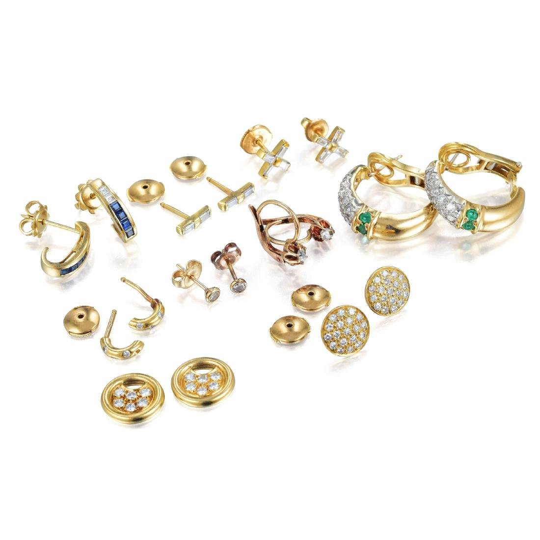 A Lot of Nine Pairs of Diamond Earrings