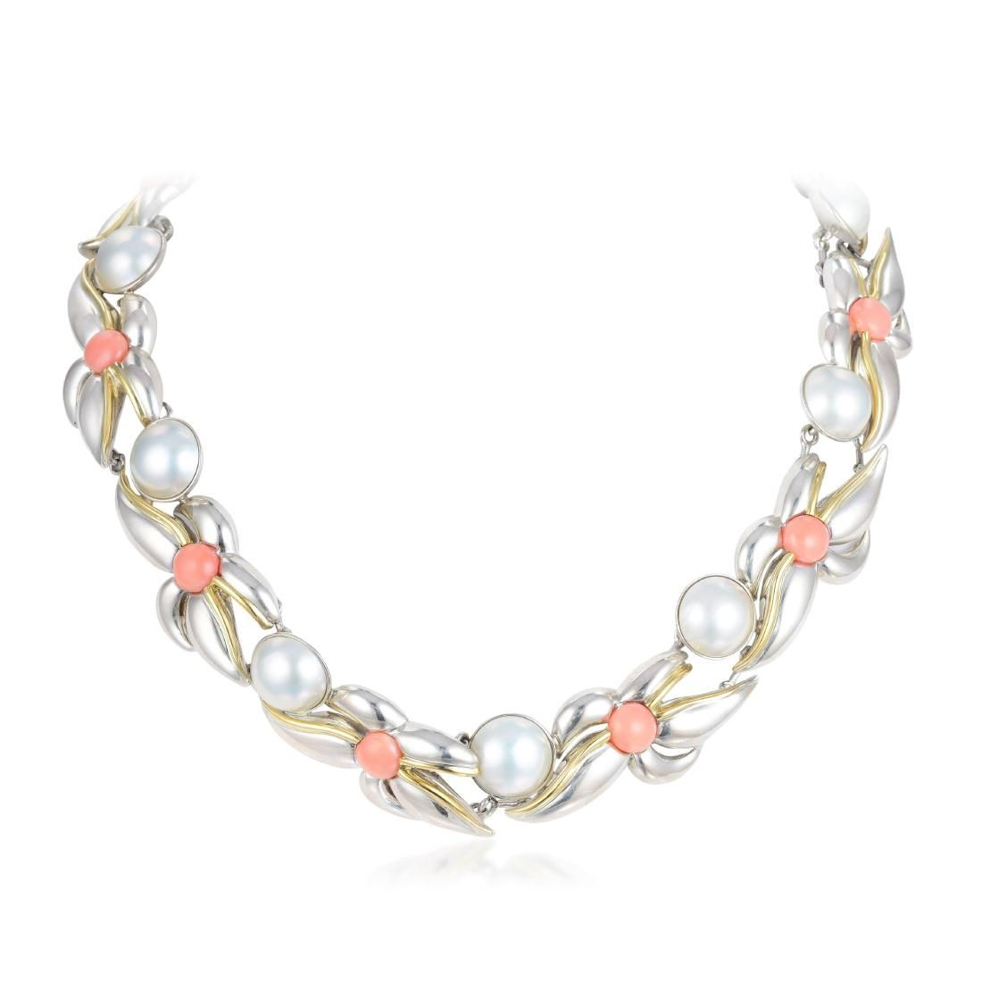 Tiffany & Co. Pearl and Coral Sterling Silver Necklace