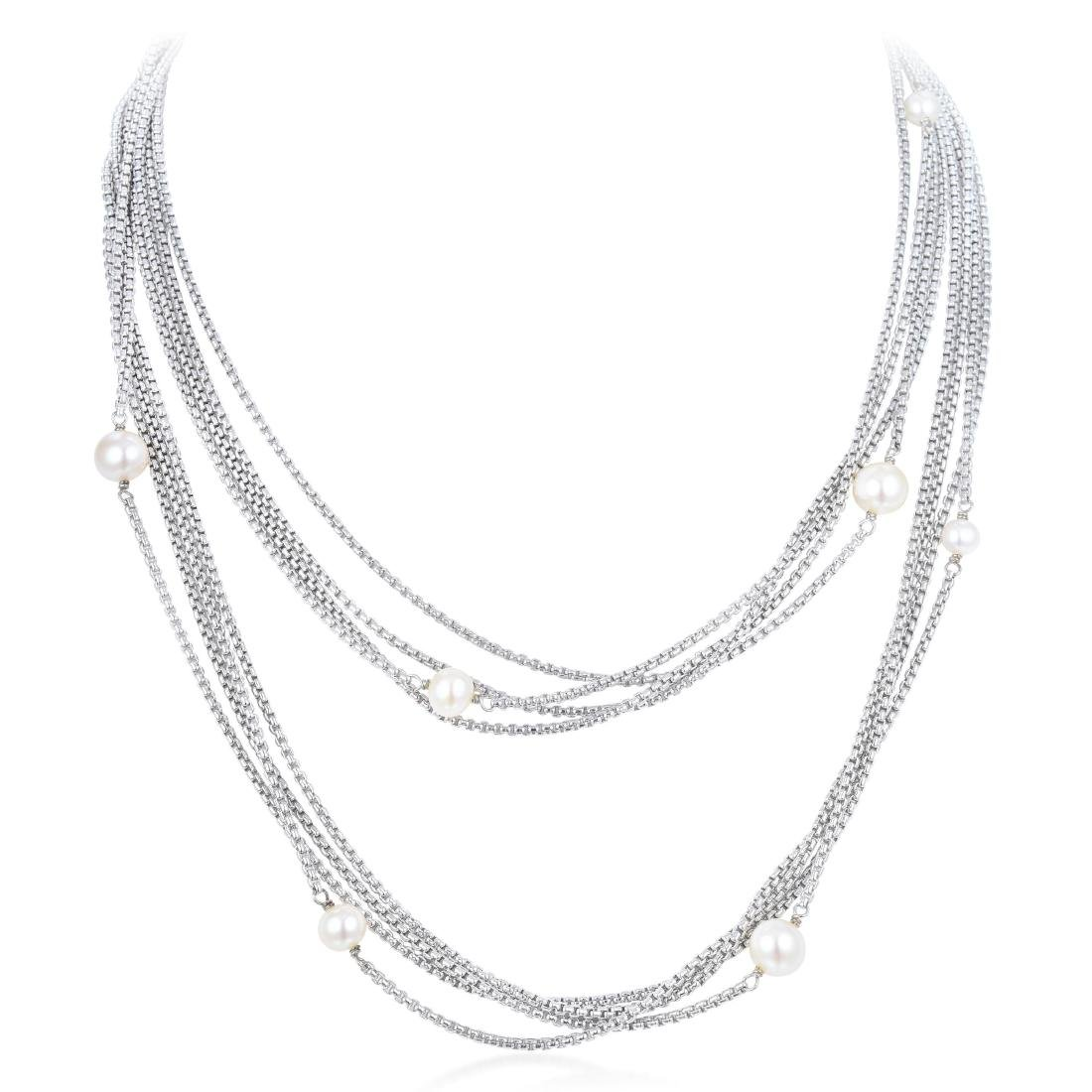 David Yurman Pearl Silver Necklace
