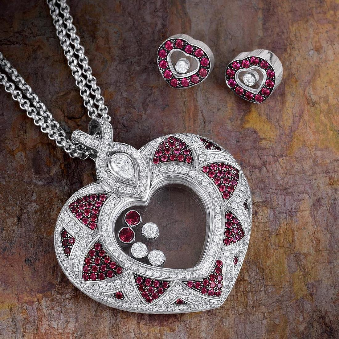 Chopard Happy Diamond Ruby Heart Pendant Necklace and