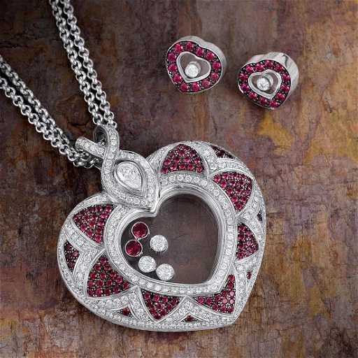 Chopard happy diamond ruby heart pendant necklace and aloadofball Gallery